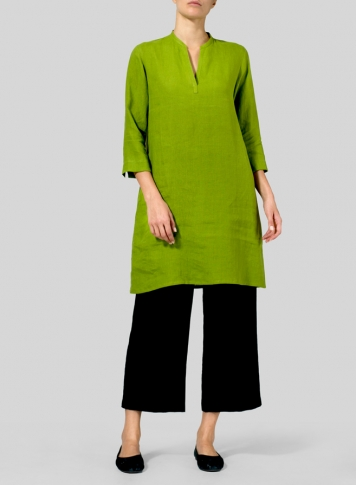 Green Leaf Linen V-neck Mandarin Collar Tunic