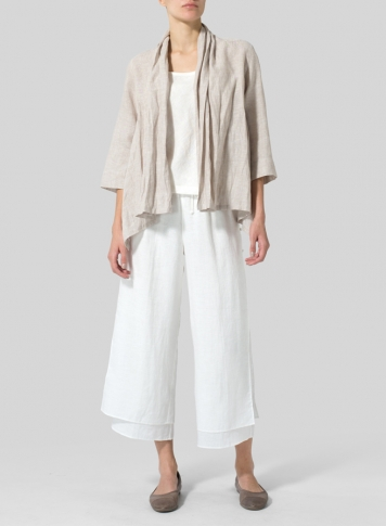 Two Tone Beige Linen Shawl Collar Jacket
