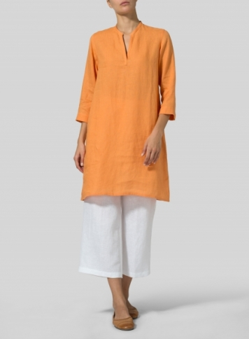 Orange Linen V-neck Mandarin Collar Tunic