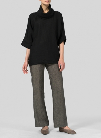 Black Linen Cowl Neck Top