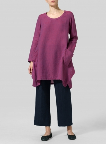 Two Tone Purple Linen Long Sleeve Top