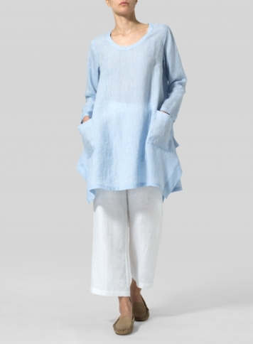 Light Blue Linen Long Sleeve Top