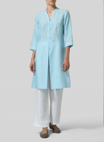 Aqua Blue Linen V-neck Stand Collar Long Blouse Set