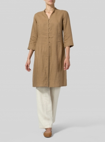 Clay Brown Linen V-neck Stand Collar Long Blouse Set