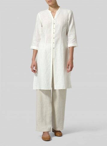 Off White Linen V-neck Stand Collar Long Blouse Set
