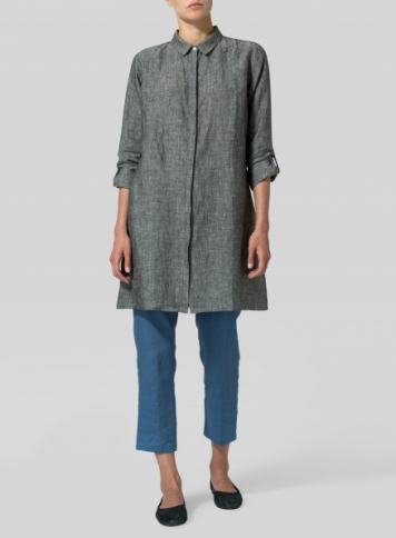 Linen Rolled Sleeve Long Top Set