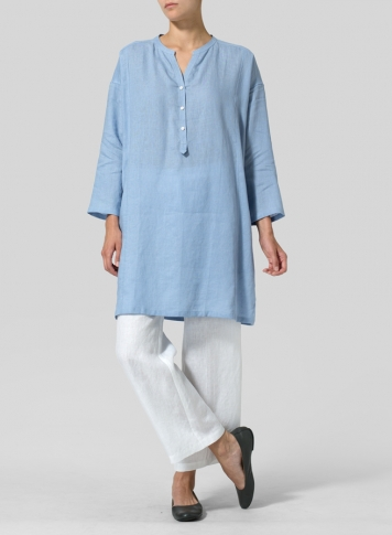 Sky Blue Linen Long Popover Top