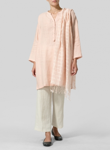 Rose Pink Linen Long Popover Top