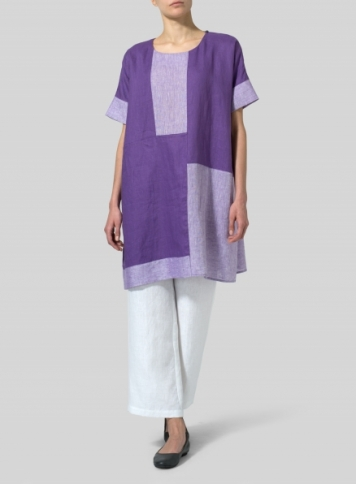 Purple Linen Oversize Patchwork Tunic
