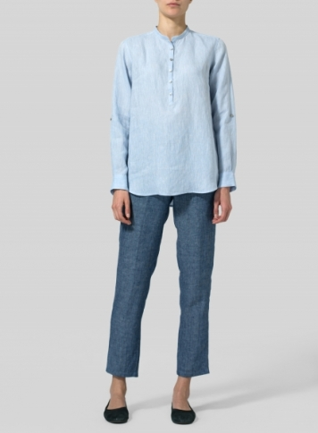 Linen Mandarin Collar Shirt Set