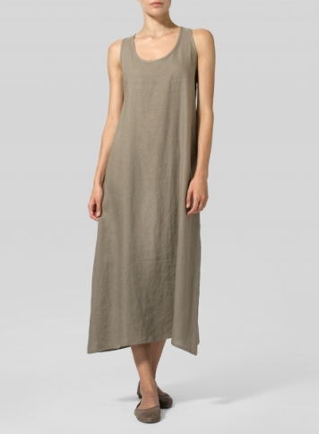 Light Tan Linen Dipped-Hem Maxi Dress
