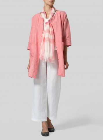 Sakura Pink Linen Round Neck Button Front Top