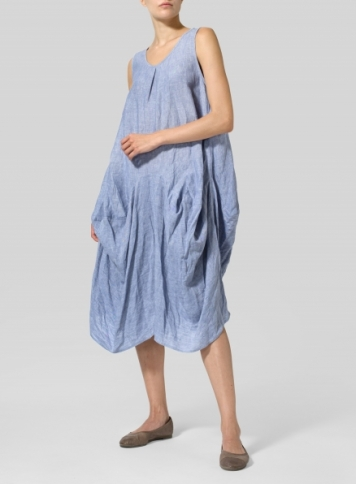 Light Denim Linen Sleeveless Draped Dress