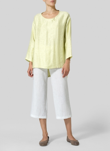 Soft Lime Linen Scoop Neck Patterned Tunic Set