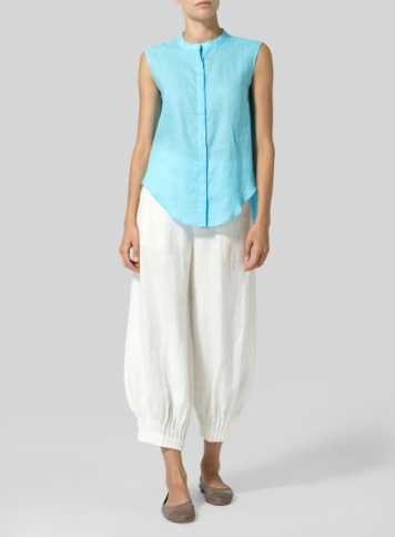 Light Sky Blue Linen A-line Sleeveless Top with Mandarin Collar