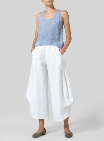 Two Tone Layered Linen Cropped Tank Top
