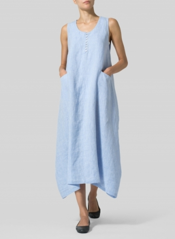 Sky Blue Linen Sleeveless Long Dress