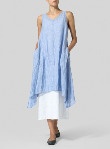 Linen Sleeveless Crumple Effect Long Dress Set