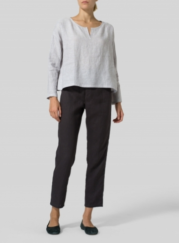 Gainsboro Gray Linen V-neck Boxy Top