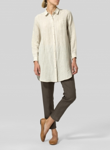 Oat Linen L/S Solid Basic Button Front Long Blouse
