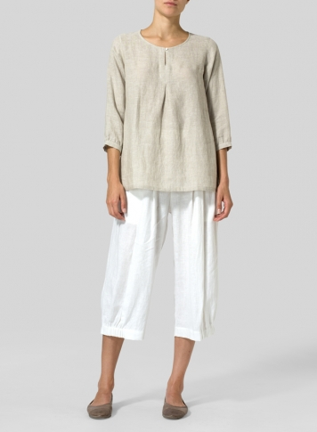 Oat Linen Half Sleeve Inverted Front Pleat Blouse Set