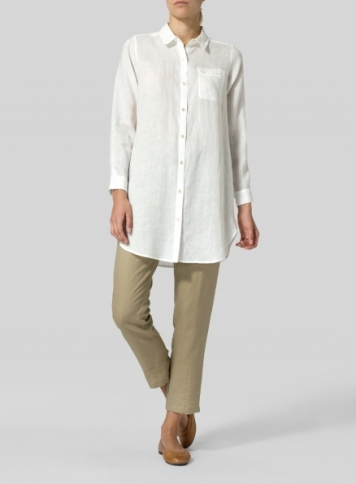 Soft White Linen L/S Solid Basic Button Front Long Blouse