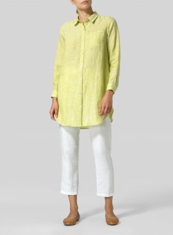 Lime Linen L/S Solid Basic Button Front Long Blouse