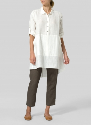 Off White Linen Classic Collar A Shape Tunic