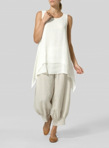 Ivory White Linen Crinkle Gauze Sleeveless Layered Top