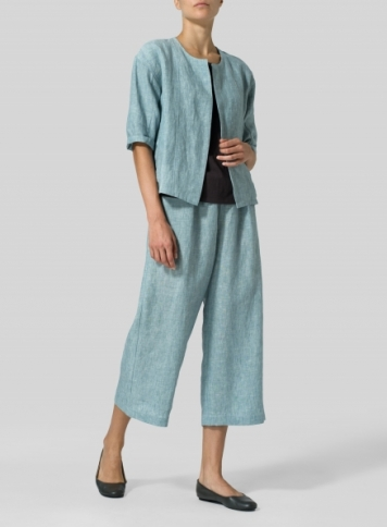 Two Tone Light Green Linen Open Front Jacket