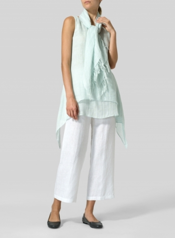 Mint Linen Sleeveless Layered Lightweight Top