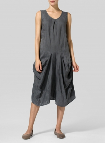 Dark Gray Linen Sleeveless Draped Dress