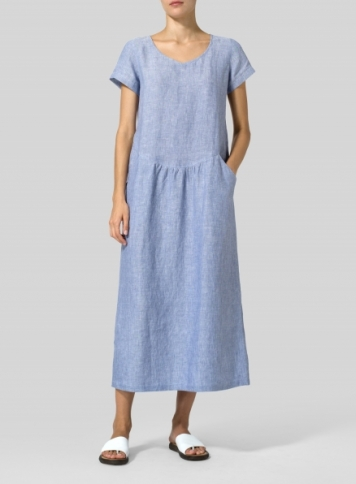 Pale Blue Linen Short Sleeve Midi Dress