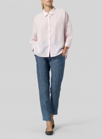 Baby Pink Linen Crop Sleeve Boxy Shirt