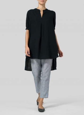 Black Linen Mandarin Collar A Shape Blouse