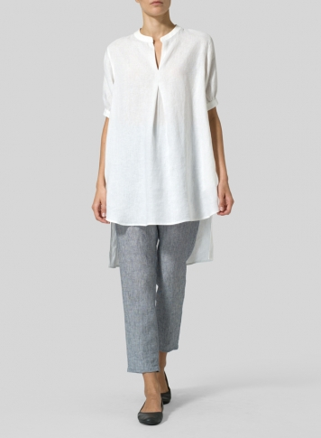 White Linen Mandarin Collar A Shape Blouse