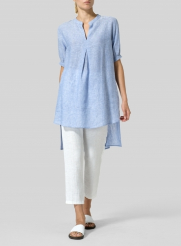 Cornflower Blue Linen Mandarin Collar A Shape Blouse