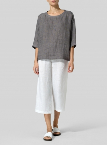 Kendall Charcoal Double Layer Linen Scoop Neck Top