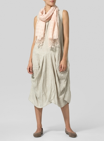 Oat Linen Sleeveless Draped Dress Set