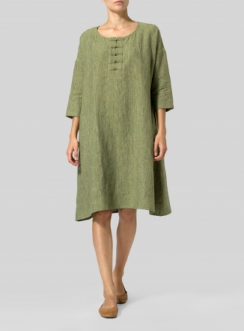 Tea Leaf Linen Yarn-Dyed Long Tunic