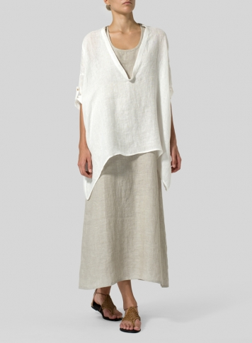 Soft White Linen Delicate Deep V-neck Overtop Set