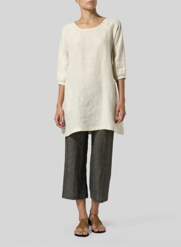 Light Oat Linen Elbow Sleeve Tunic