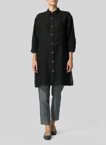 Black Linen Half-Sleeve Long Shirt