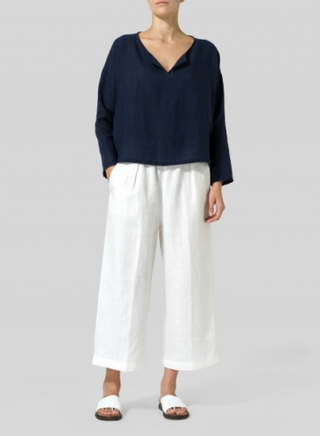 Midnight Blue Linen V-neck Boxy Top