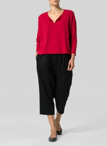 Red Medium Weight Cotton V-neck Boxy Top