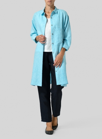 Blue Linen Half-Sleeve Long Shirt
