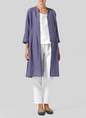 Dark State Purple Linen V-neck Stand Collar Long Blouse
