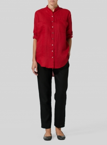 Red Linen Mandarin Collar Blouse