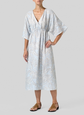 Blue Paisley Waves Linen Printed V-Neck Dolman Sleeves Dress