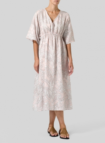 Pink Paisley Waves Linen Printed V-Neck Dolman Sleeves Dress